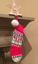 Vintage Christmas Red White Baby Christmas Knit Stocking Euc