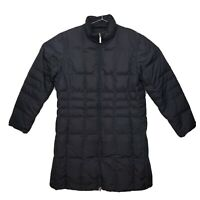 Womens Large 14-16 Lands End Black Down Insulated Reversible Long Puffer Jacket