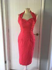Vivien Of Holloway Halterneck Dark Pink Wiggle Dress Size 12