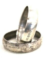 Antique 1911 Hallmarked Sterling Silver Pair of Bands Francis Webb - I04