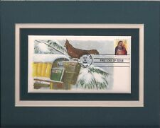 Cardinal On Snowy Mailbox - Winter - Frameable Postage Stamp Art - 0791
