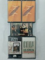 Lot of 5 - Led Zeppelin - Cassette Tapes - Remasters I & II, CODA, Profiled, IV