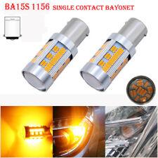 2x Amber P21W 1156 BA15S LED Bulb 105 SMD Car Turn Signal Light Reverse bulb