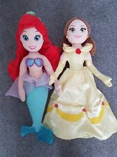 2 Large Disney Character Soft Dolls Ariel Little Mermaid & Belle