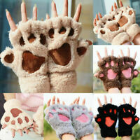 Soft Warm Winter Women Paw Gloves Fingerless Fluffy Bear Cat Plush Paw Chic Gift