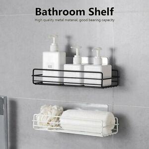 Mounted Adhesive Kitchen Shampoo Holder Storage Rack Bathroom Shelf Organizer
