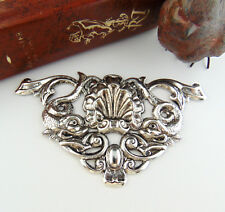 ANTIQUE SILVER Large Shell Motif Asian Koi Stamping ~ Oxidized Finding (FC-7)