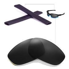 New Walleva Polarized Black Lenses And Black Earsocks For Oakley Split Jacket