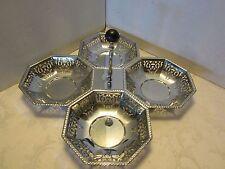 ART DECO CHROME PIERCED 4 section nut DISH tray BAKELITE KNOB 1930-40s original