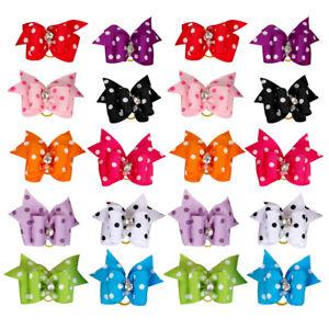 20/100pcs Rhinestone Dog Hair Bows & Rubber Band Polka Dots Grooming Accessories