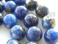 "18"" Natural 10mm Round Lapis Lazuli Necklace 14k!"