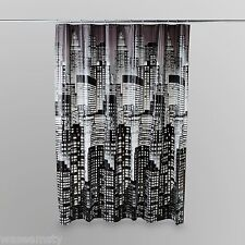 Black White Cityscape City Scape Bathroom Shower Curtain Bath Decor