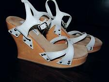 """Steve Madden Ankle Strap 4"""" Wedges Heels Sandals 8.5 White Leather Wood Strappy"""