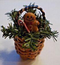 Dollhouse Miniature Artisan Gingerbread Man Candy Cane Christmas Basket  1:12