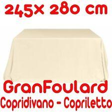 Telo Arredo Copridivano Copriletto GranFoulard copritutto Cotone Avorio 245x280