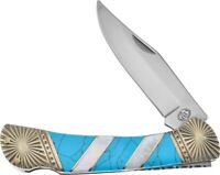 Silverhorse Stoneworks Turquoise MOP Lockback Classic Folding Knife 585TURMP