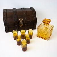 Wood Treasure Chest Amber Diamond Decanter Shot Glass Bar Set - Japan - Vintage
