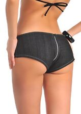 Women Lady Super Sexy Low Rise Shorts Zip Crotch Hot Denim Panties Hipster Charm