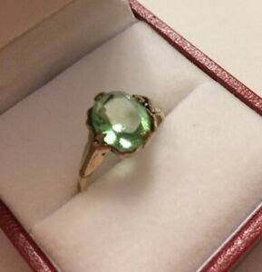 Vintage Green Paste Rolled Gold Ring size L Pretty