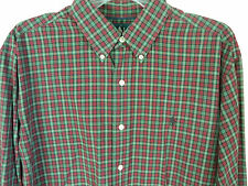 Ralph Lauren Classic Fit Shirt Size Large Navy Blue Polo Pony Red Green Check