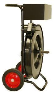 "Premium Oscillated Strapping Cart Dispenser w/ Strap Troller 16"" Core"