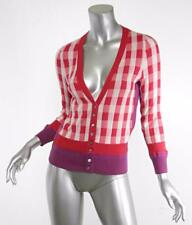 MARC JACOBS Red Pink Checker Long-Sleeve Cardigan Button-Up Sweater Top S NWT