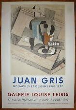 Joan GRIS Affiche en Lithographie Mourlot cubisme art abstrait Louise Leiris
