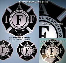 IAFF Firefighter Decals Black Silver Metallic 2pc Kit, Includes Lamination, 0016