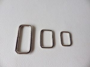 Rectangle Rings Chrome finish buckles for webbing: Internal 38mm - 25mm - 20mm