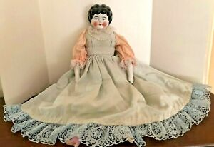 """OLD VICTORIAN CERAMIC CURLY HAIR VINTAGE CHINA DOLL 17.25"""" TALL"""
