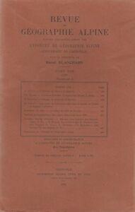 Blanchard : revue de géographie alpine, tome XVII, fascicule II, 1929