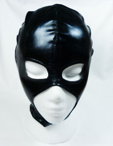 Wet look HOOD with open eye, nose & mouth HO-19-BLA, FREE UK DELIVERY