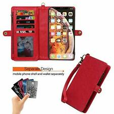 iPhone 11 Pro Max Wallet Case Leather Folio Detachable Cover Card Slots TPU Red