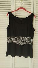 Perceptions New York size 14 black sleeveless top, white accent nylon spandex