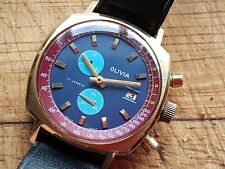 VINTAGE 1970S SWISS OLIVIA 17JLS CHRONOGRAPH 2 DIAL DATE MENS WATCH WORKS S/RPS