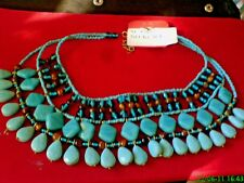 VINTAGE AUTHENTIC INDIAN NECKLACE with TURQUOISE RESIN & GLASS BEADS £16.99nwt
