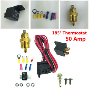 Electric Fan Wiring Install Kit Complete Thermostat 50 Amp Relay 185° Thermostat