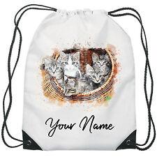 Personalised Kittens Gym Bag PE Dance Sports School Swim Bag Waterproof