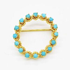 18k Yellow Gold Estate Turquoise Circle Pin/Brooch