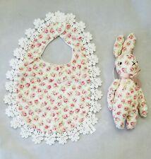 Flower Rose Baby Bib Bunny Lace White Red Print Girl Shower Gift Set 2 Handmade