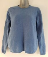 ISLE ESSENTIAL Women's Blue Pure New Wool Crew Neck Jumper. Size Small(10-12).