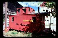 Rio Grande D&RGW Caboose at Ouray, Colorado in 1974, Original Slide aa 4-26a