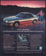 1985 PLYMOUTH TURISMO DUSTER Silver Car Photo AD