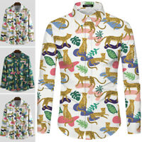 Men's Long Sleeve Casual Party Button Down Shirt Christmas Party Blouse Tops Tee
