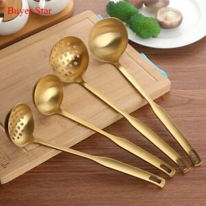 Soup Ladle Skimmer Gold Color 2 Pcs Stainless Steel Kitchen Metal Cooking Tools