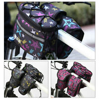 Cycling Bike Bicycle Handlebar Bag Front Frame Tube Basket Double Side Pouch