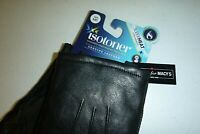 Isotoner mens Gloves SMART Sleekheat soft Leather designer touch gloves -Medium