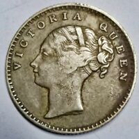 British India Victoria silver 1/4 rupee 1840 high grade Divided legend BR0219