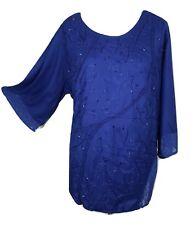 Ladies Top Blouse Embroidered Lace Beaded Tunic Casual 14 16 18 20 22 24 26 28