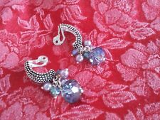 New Handmade Clip-On Silver Earrings Crystal Demi Hoop High Relief Multi-Colored